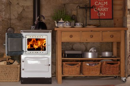 The Esse Plus1 - The wood fired companion for any kitchen, the neat wood fired range cooker. Great for winter warmth and cooking.
