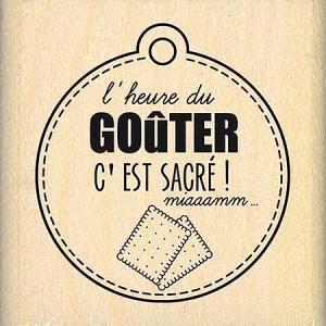Du Fond du Cœur - Tampon Bois - L'heure Du Goûter - 3,9 x 4,3 cm