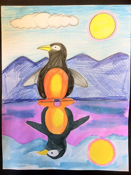 The top half is done with color pencils. I had the kids do a directed draw of the penguin and they chose their own background. The bottom half they did the second class period. The hardest thing for them to draw the reflection was understanding how it looked, like which side the beak should be on. Once they drew that they then watercolored it to create the softness of a reflection.