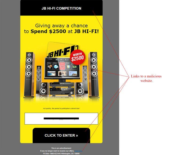 JB Hi-Fi Competition Winner Email Scam - http://www.mailshark.com.au/recent-security-news/jb-hi-fi-competition-winner-email-scam-24196