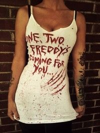 Freddy Kruger nightmare on elm street horror bloody tank top or fitted tshirt, halloween gore, small,med or large.
