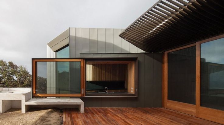 Excellent Beach House in Australia : Wooden Balcony Beach House Large Glass Door Glass Window