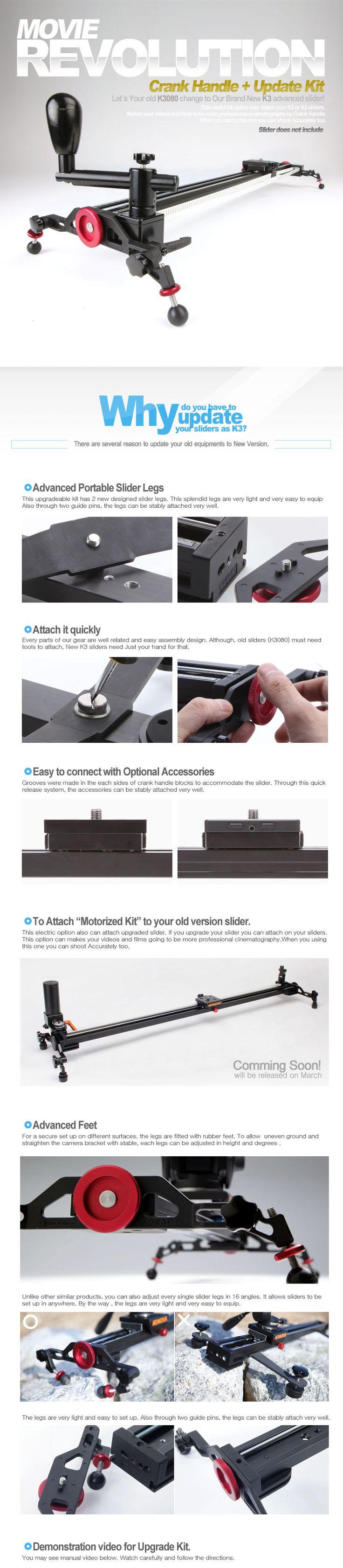 muy bueno para moverlo no manual Camera Camcord slider dolly track Konova Crank Handle Pulley kit