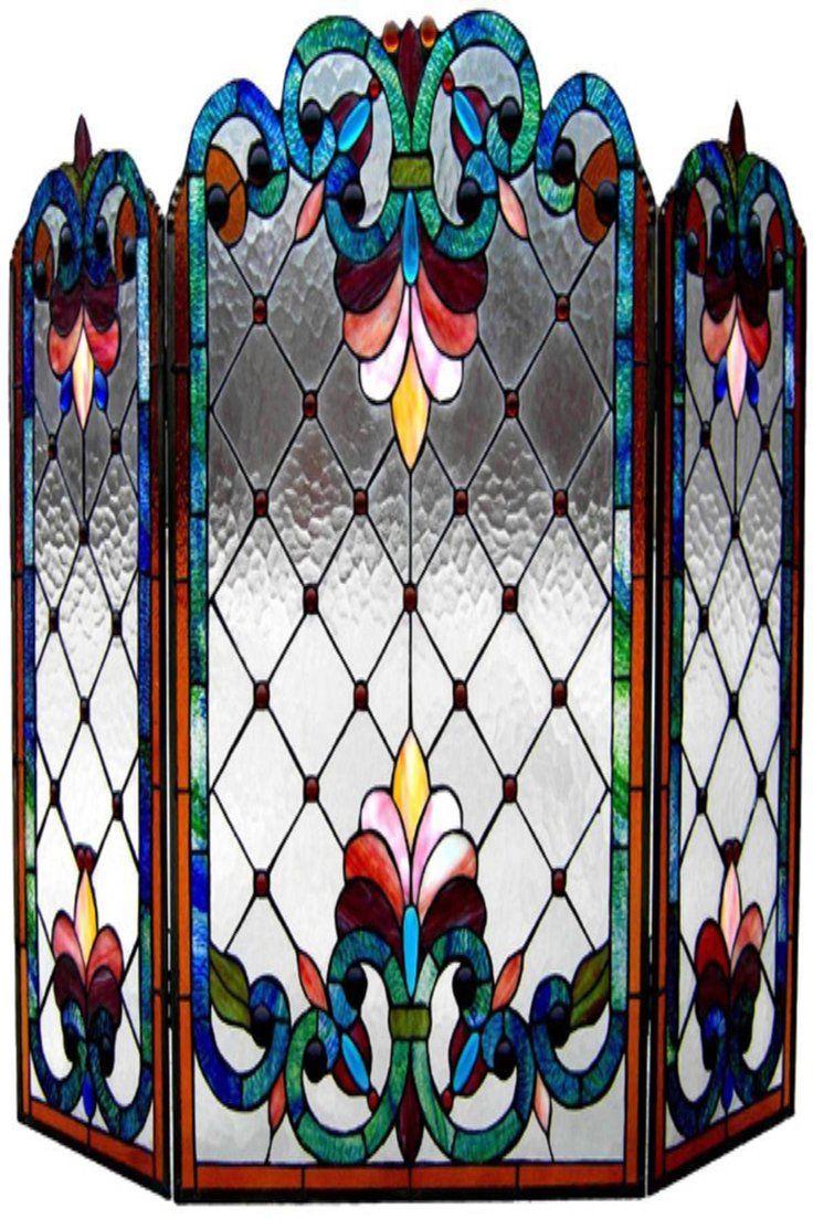 3 panel kitchen window  stained glass chloe lighting victorian  panel folding fireplace