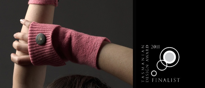 Fingerless Gloves Finalist in the  2011 Tasmanian Design Awards   Made from 100% recycled wool  http://www.the3rddoor.net/