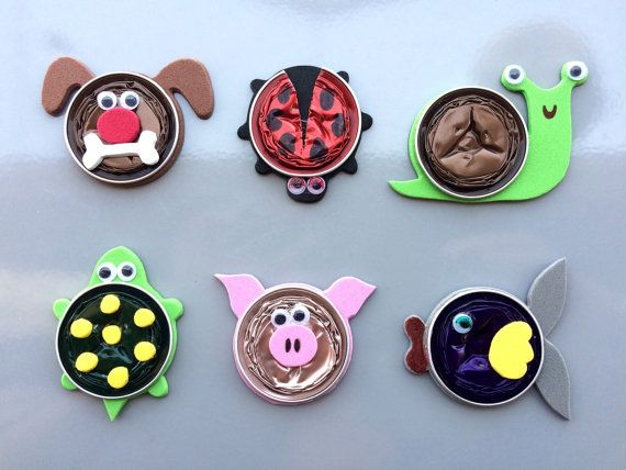 Set of six fridge magnets crafted from recycled Nespresso coffee capsules. Six cute original animal designs: pig, dog, turtle, sneagle, ladybug and