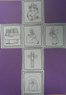 Free Holy week story sequencing cards made into a cross. From Charlotte's Clips