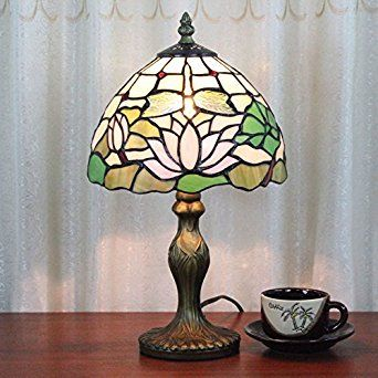 8 Inch Lotus Dragonfly Pastoral Antique Luxury Tiffany Style Handmade Glass Table Lamp Bedside Bed room Children's Light: Amazon.co.uk: Lighting