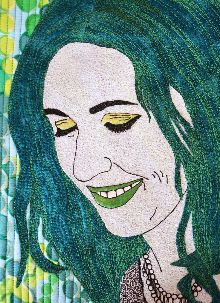 "Self Portrait - Close up Aotearoa Quilters Green Challenge Exhibition 2015 12x12"" #sophiewoodartist #sophiewood #artquilt #textileart www.sophiewoodartist.com"