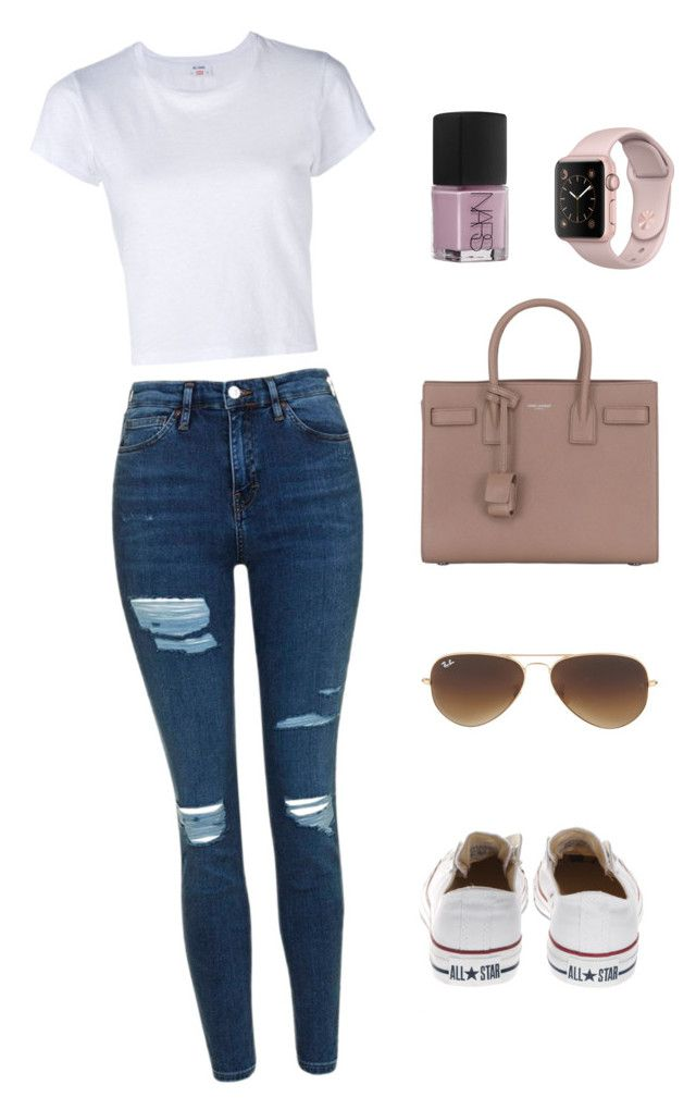 """""""Outfit #15"""" by ancara on Polyvore featuring RE/DONE, Topshop, NARS Cosmetics, Converse, Ray-Ban and Yves Saint Laurent"""