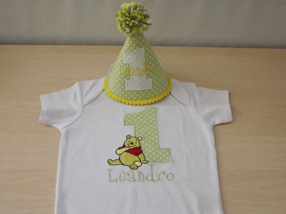 Winnie the Pooh First Birthday Outfit - Personalized Shirt AND Party Hat on Etsy, $36.00