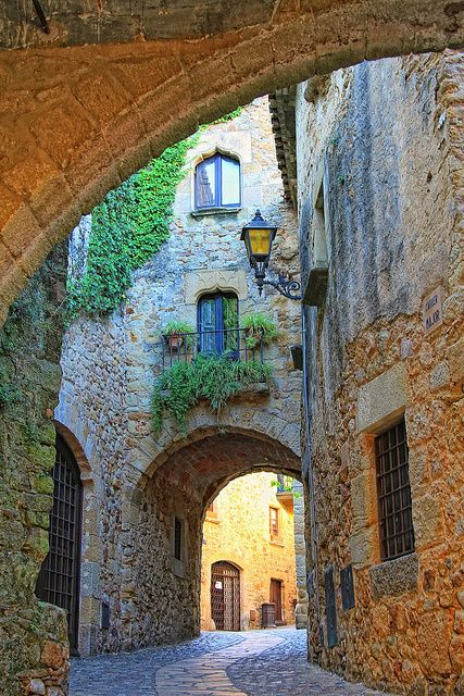 Narrow Street, Catalonia, SpainFavorite Places, Arches, Beautiful Places, Girona, Catalonia Spain, Architecture, Travel, Spain Photos, Dreams Destinations