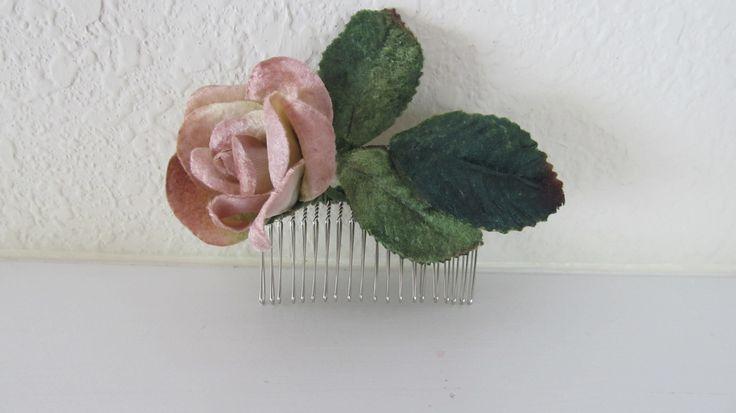 velvet hair flower on comb