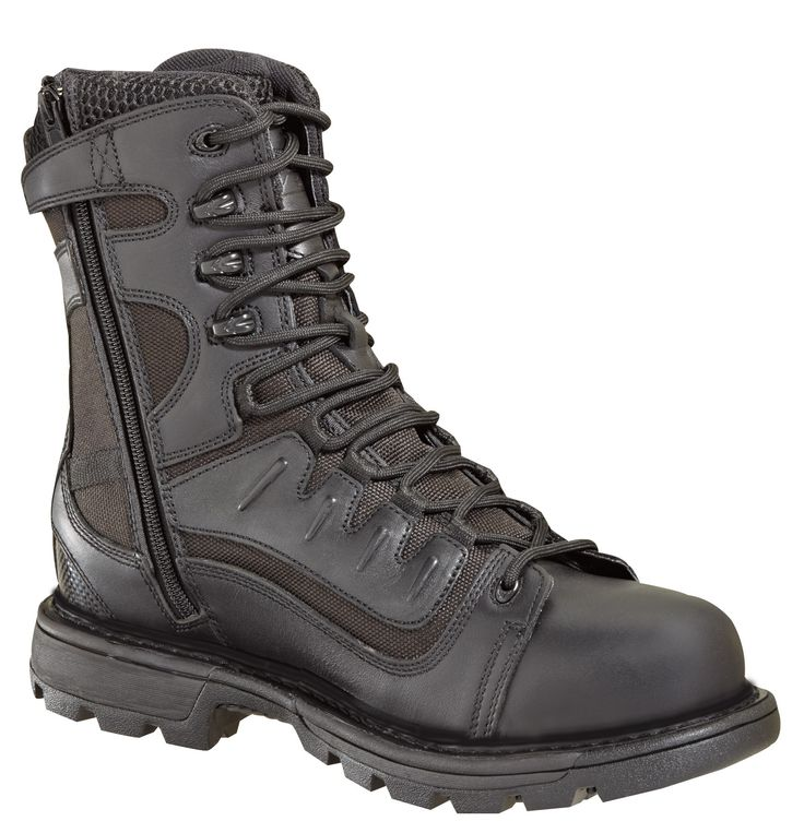 Thorogood Mens Black Leather Boots 8in Tactical Side Zip Waterproof