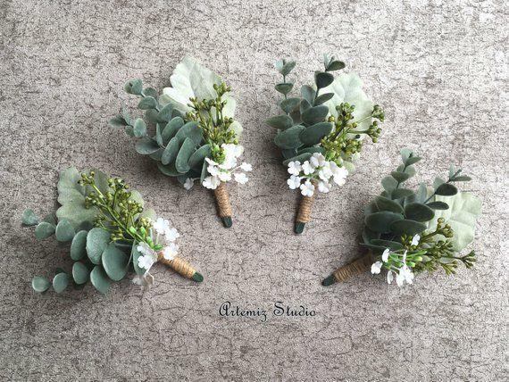 Greenery Boutonniere Rustic Wedding Corsage Boutineer Eucalyptus Grasses Wildflowers Dusty Miller La