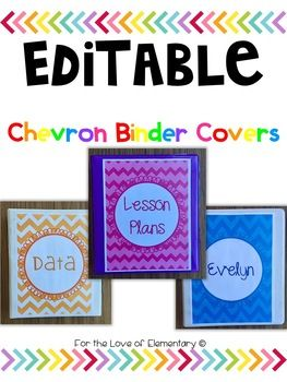 Editable Chevron Binder Covers by For the Love of Elementary | Teachers Pay Teachers
