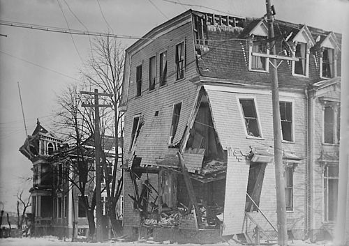 Halifax explosion - Nova Scotia - Building with walls bent outward and floor collapsing