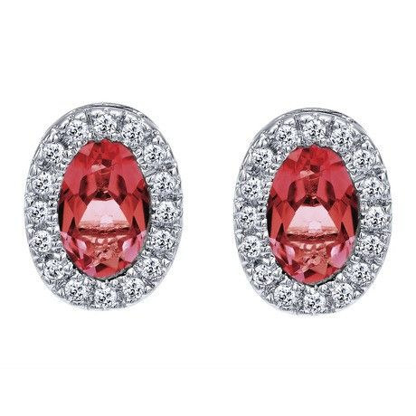 Oval Shape Ruby and Diamond Earrings