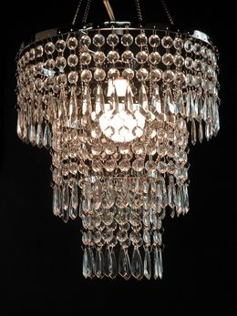 Crystal pendant chandelier 3 tier 12in w lighting kit for Plastic chandeliers for parties