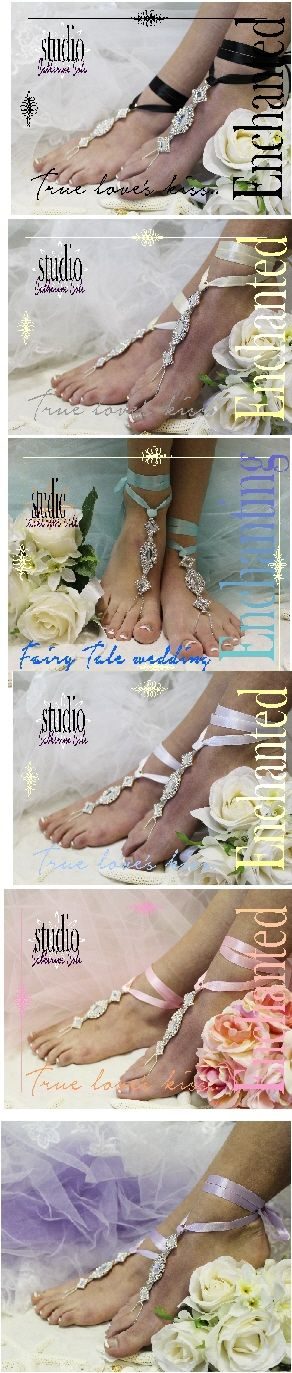 Something blue ribbon and silver rhinestone barefoot sandals for your fairy tale beach wedding. Our enchanting foot jewels are as perfect as true love's first kiss. The something blue satin ribbon can