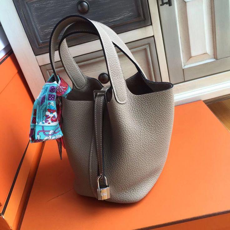 Hermes Etoupe Picotin Lock MM Togo Leather Bag - Bella Vita Moda #hermes #hermeslover #hermesaddict #hermesbuyer #hermescollector #hermesforsale #bagforsale