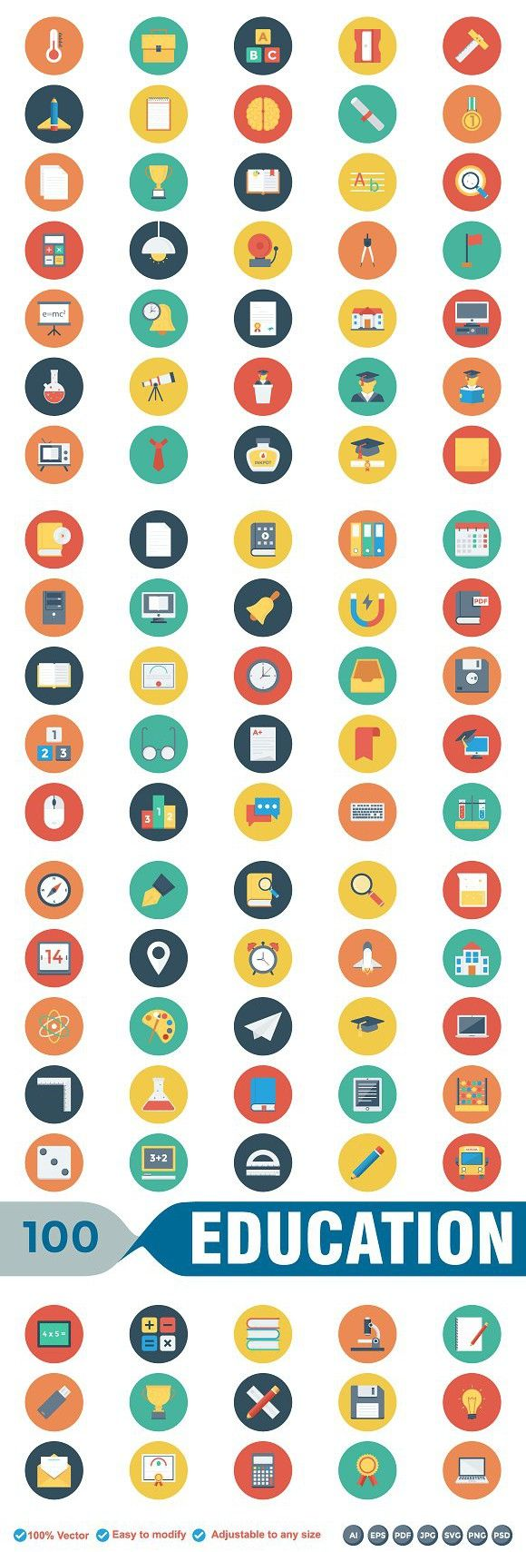 Educational Flat Circle Icons. Student #onlineeducation