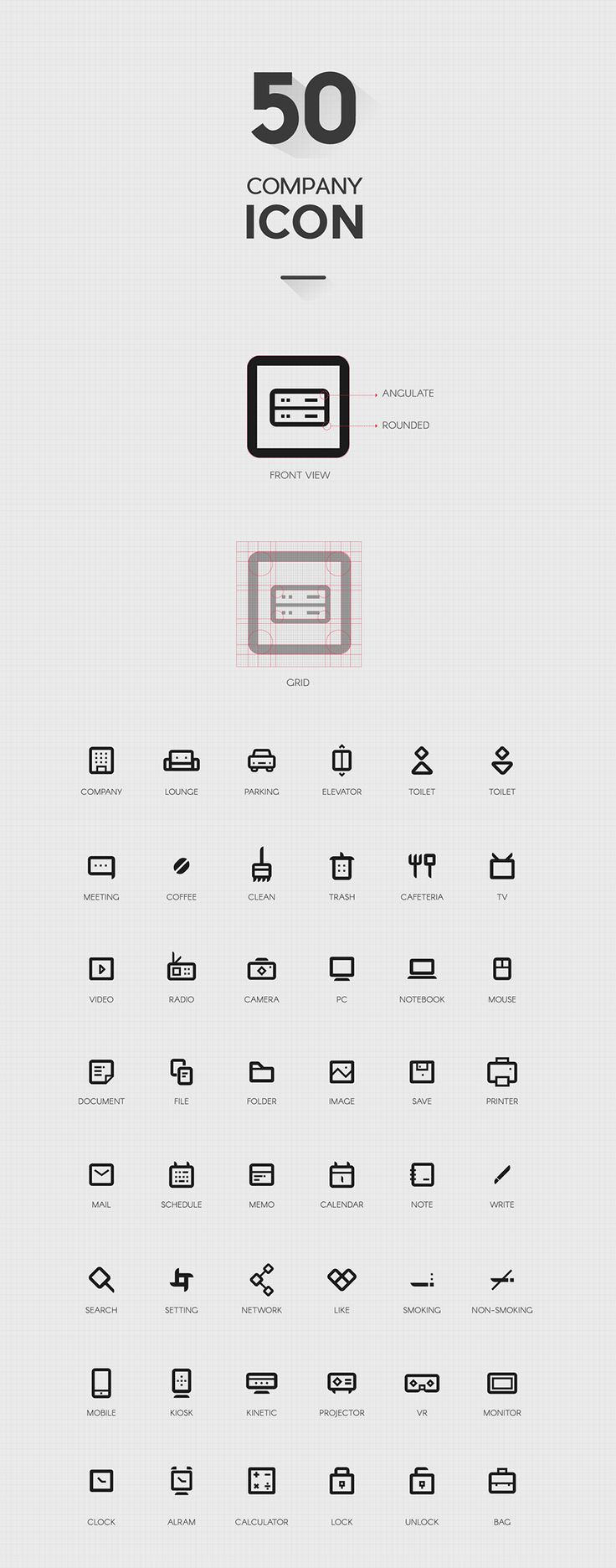 Free 50 Company Icon Set Vector • Ai & Svg File (995 KB) | By Yunjung Seo on Free Design Resources | #free #vector #ai #svg #icon #company
