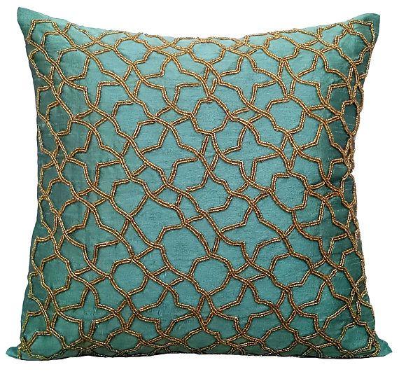 Teal Accent Pillows Geometric Pillow 16x16 Silk