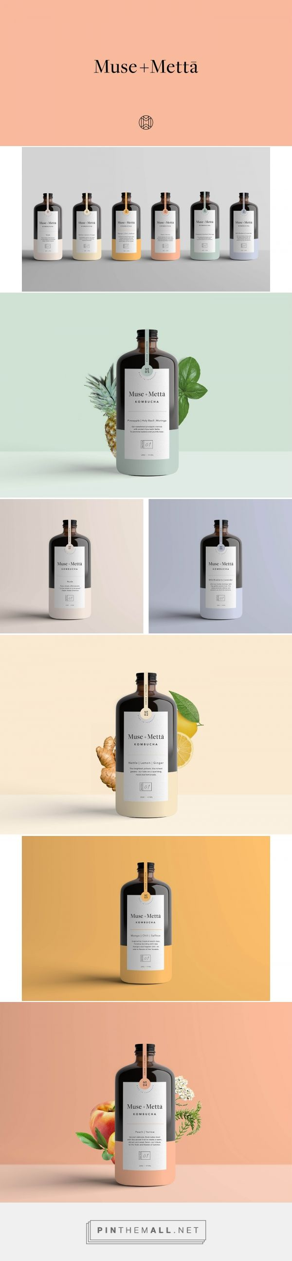 Muse + Metta Kombucha Tea Packaging by Kati Forner | Fivestar Branding Agency – Design and Branding Agency & Curated Inspiration Gallery
