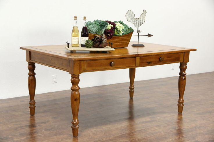 Country Pine Farmhouse Vintage Harvest Dining Table, 2