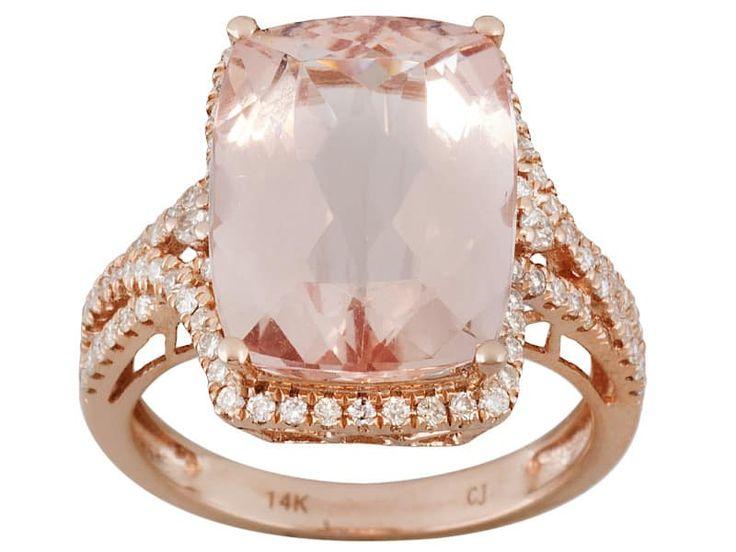 8.66ct Rectangular Cushion Cor-de-rosa Morganite With .46ctw Round White Diamond 14k Rose Gold Ring