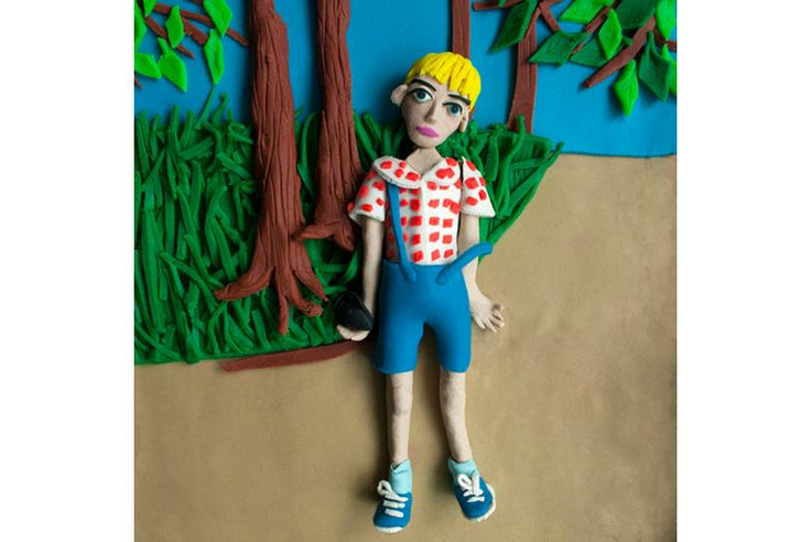 Photographs rendered in Play-Doh by Eleanor Macnair on view at ATLAS Gallery