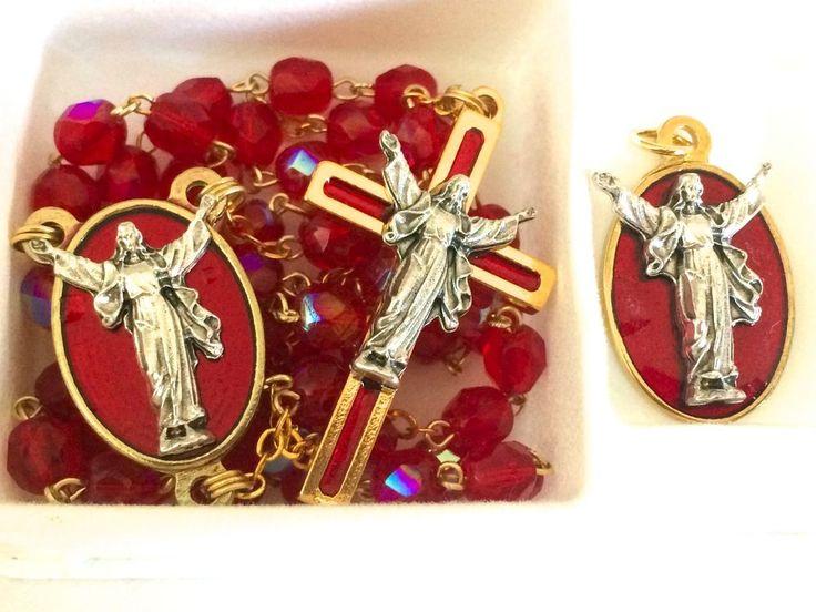 Easter gifts 286 pinterest risen christ jesus crystal rosary medal set italy catholic gift new negle Images