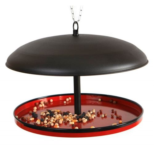 Hemisphere-shaped bird feeder made of metal. It is easy to clean, refill and hang. Also,  its large capacity does not require frequent refilling. Made by Neo-Spiro.