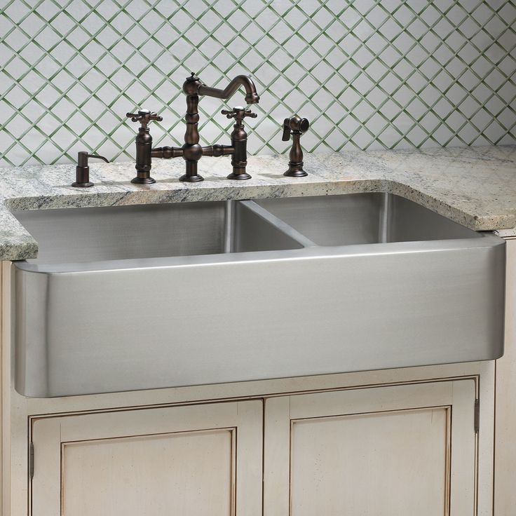 hazelton offset doublebowl stainless steel farmhouse sink signature hardware love this option project arlington kitchen pinterest - Stainless Farmhouse Sink
