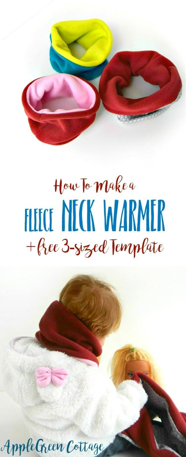 Fleece neck warmer tutorial: this easy beginner sewing tutorial will teach you how to make a warm and cozy reversible fleece neck warmer. And here's a free 3-sized template for you to avoid guessing and to make this cowl scarf a quick and easy-sew.