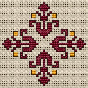 Small pattern of decorative flowers in wine red and light tangerine colors.Suitable for biscornu and other crafts projects.