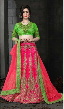 Deep Pink Color Silk Embroidery A Line Designer Lehenga | FH586786364