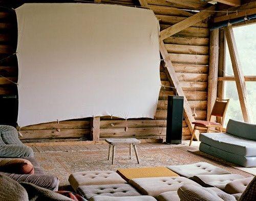 "A stretched canvas serves as movie screen; image via Malwine Rafalski's ""Holon"" series."