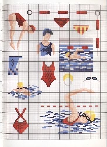 0 point de croix femmes à la piscine, nageuses - cross stitch swimmers, women at the swimming pool