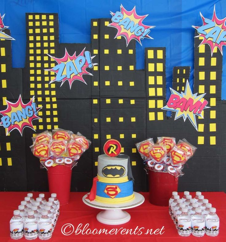Dessert table at a superhero birthday party! See more party ideas at CatchMyParty.com!