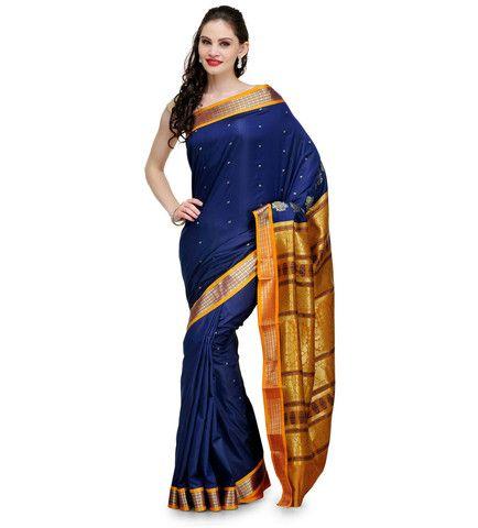 Navy Blue Jacquard Bomkai Art Silk Saree | Fabroop USA | Store for Trendy Sarees