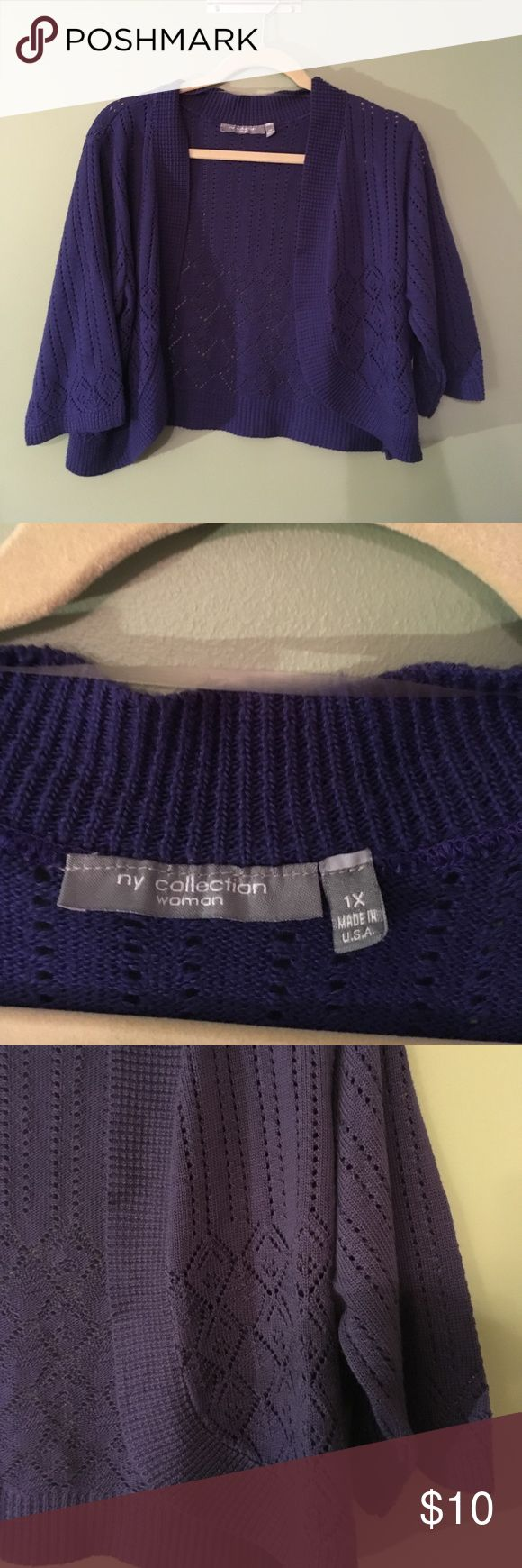 NY Collection size 1X purple shrug NY collection size 1X crochet purple shrug.  This shrug is 18 inches from shoulder seam to the lowest point on the bottom.  This was only worn a few times and is in EUC.  It comes from a smoke free and pet free home. NY Collection Sweaters Shrugs & Ponchos
