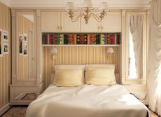 Эргономичная организация системы хранения в небольшой спальне хрущевки