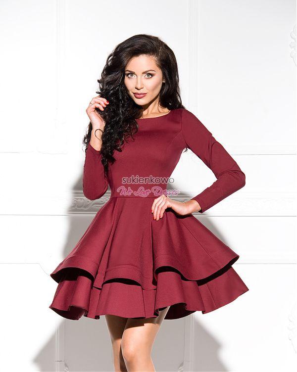 Sukienkowo Com Luna Sukienka Podwojnie Rozkloszowana Z Dlugim Rekawem Bordowa Dresses Baby Girl Dresses Nice Dresses