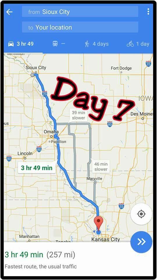 sioux, SD to Kansas City,  Missouri