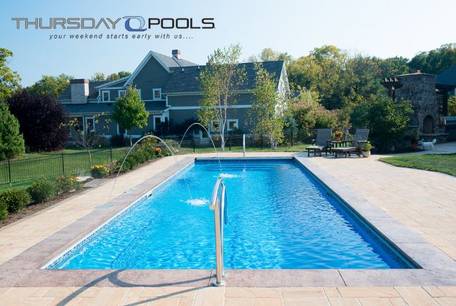 1000 images about backyard fiberglass inground swimming for Pool design for volleyball