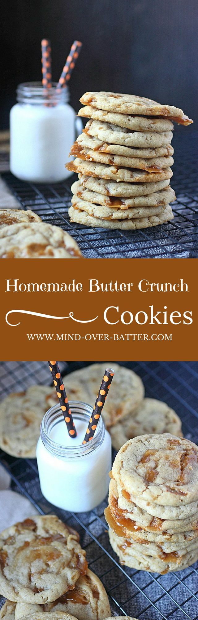 Homemade Butter Crunch Cookies -- www.mind-over-batter.com