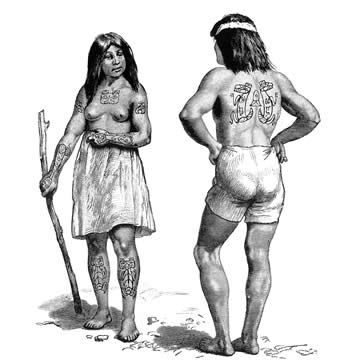 Haida couple with crest tattoos. After Swan (1886). Haida woman with bear's head tattooed on breast, each shoulder adorned with head of an eagle. On her arms and legs are figures of the bear. Haida man with wolf spirit tattooed on back.