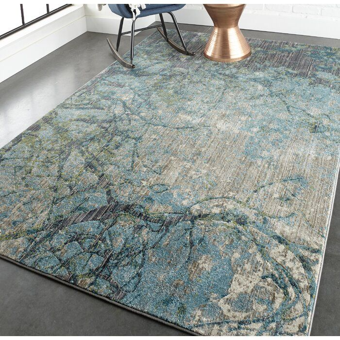 Caffrey Abstract Blue Area Rug Joss Main In 2020 Blue Area